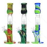 12.5 inch colorful Silicone Bong with Glass Tree Perc Thick bowl