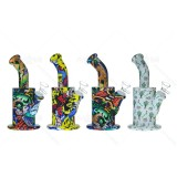 4.5 inch Carton painted  two parts mini  Silicone Dab Rig With Quartz Banger/Bong Bowl