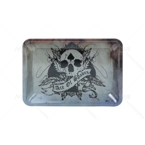 Skull ace of Spades Metal Rolling Tray 7 inch *5 inch