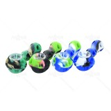 4.5 inch camouflage Silicone Hand Pipe with glass bowl