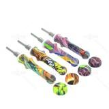 4.8 inch Titanium Nail Silicone Straw Nectar Collector 14MM Printed colors