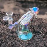 Nova Glass 5.8 inch jellyfish design Metallic color tinted glass water pipe