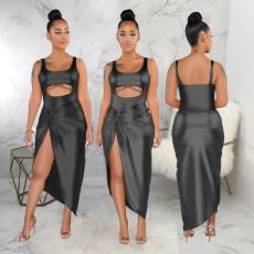 Gilding Cut Out Bodysuit Irregular Skirt Suit SMR-9178