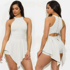 Plus Size Solid Sleeveless Irregular One Piece Rompers YH-5083