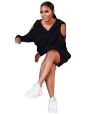 Black Off Shoulder Hooded Loose Mini Dress FNN-8164