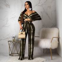 Sexy Striped V Neck Off Shoulder Wide Leg Pants Suit BS-1075