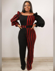 Patchwork Striped Off Shoudlder Jumpsuit QY-5046