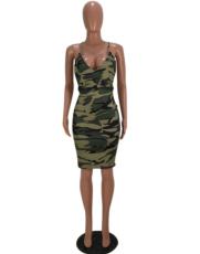 Camo V Neck Backless Bodycon Club Dress MOY-5026