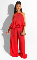 Solid Straps Tops And Long Pants Two Piece Suit LS-0273