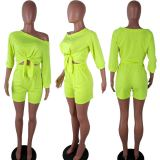 Plus Size Bow Tie Crop Tops And Shorts Sets QY-5102-1