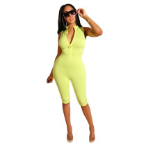 Solid Sleeveless Zip Skinny Jumpsuits MOF-5079