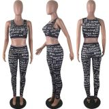 Letter Print Tank Long Pants Fitness Two Piece Set LP-6175