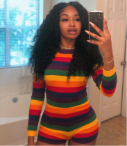 Rainbow Stripes Sexy Tight Rompers ARM-8027