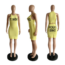 Yellow Letter Print Sleeveless Mini Bodycon Dress YIM-8011