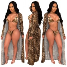 Sexy Leopard Swimsuit 3Pcs Cover Up+Bikini Set YS-8321
