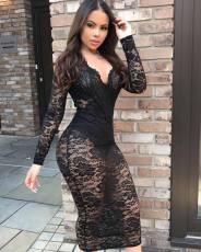 Sexy Lace V Neck Long Sleeve Bodycon Midi Dress BGN-012
