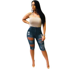 Casual Denim Holes Jeans Half Length Pants MEM-8208