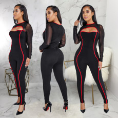 Mesh Splicing Cut Out Stripe Skinny Jumpsuit SMR-9170