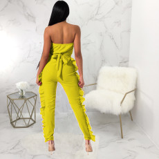 Solid Ruffles Strapless Off Shoulder Jumpsuits YM-9123