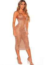 Golden Knit Sexy See Through Club Dress ZS-Z005