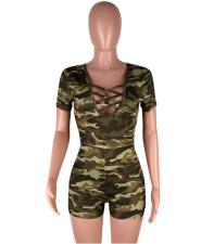Short Sleeve Camouflage Romper Bodysuit YN-994