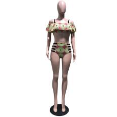 Sexy Printed Ruffles Bandage Swimsuit Bikini Set OD-8274