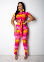 Printed Short Sleeve Bow Tie Two Piece Set PIN-8305