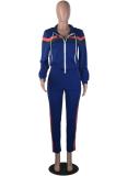 Blue Striped Zipper Hooded Tracksuit 2 Piece Set YN-9003