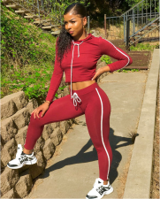 Casual Hoodies Crop Top And Pant Set MOY-5036