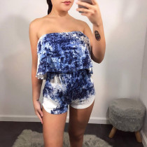 Tie Dye Print Strapless Two Peice Shorts Set CH-8012