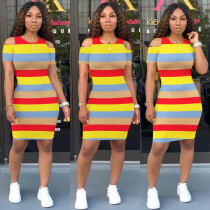Casual Striped Cold Shoulder Short Sleeve Mini Dresses MA-221