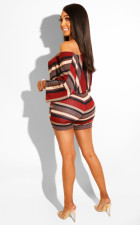 Striped Crop Tops Bodycon Shorts 2 Piece Set YD-8075