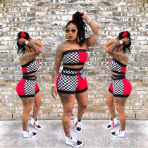 YN-982 Plaid Printed Splicing Two Piece Sets Sexy Tube Top + Shorts 2018 New