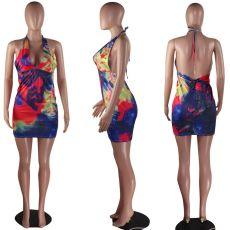 Sexy Printed Deep V Halter Backless Bodycon Mini Dresses MOF-5097