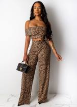 Sexy Leopard Print Off Shoulder Long Pants 2 Piece Suits YM-9154