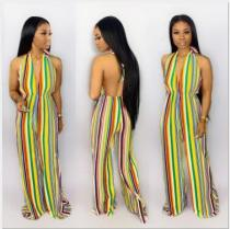 Sexy Striped Halter Deep V Neck Backless Jumpsuits GS-1122