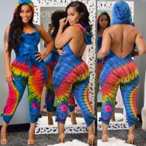 Sexy Printed Hooded Backless Long Jumpauits AL-118