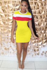 Color Splice Short Sleeve Mini Bodycon Dress YN-9090
