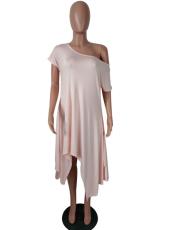 Off Shoulder Irregular Loose Midi Dress QY-5045