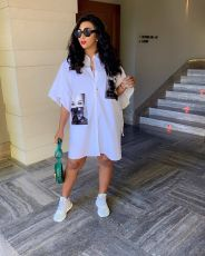 White Short Sleeve Turndown Collar Loose Shirt Dresses AL-128