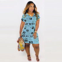 Plus Size Newspaper Print V Neck Short Sleeve Mini Dress QY-5125