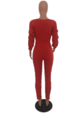 Red Deep V Neck Puff sleeve Jumpsuit MYP-8826