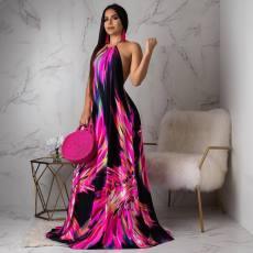 Floral Halter Maxi Dress OY-5307