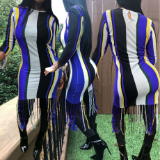 Colored Stripe Tassel Bodycon Dress AL-060