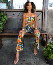 Floral Print Strapleess Crop Top Pant Sets OJS-9004