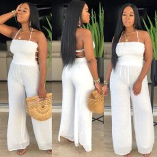 Solid Hater Backless Sexy Wide Leg One Piece Jumpsuits MIL-036