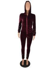 Beading Velvet Hooded Tracksuit Two Piece Set OM-1034