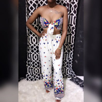 Sexy Printed Strapless Crop Top Wide Leg Pants Set CH-8020