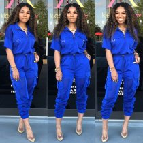 Mesh Patchwork Half Sleeve Tracksuit Two Piece Sets CM-572