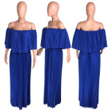 Blue Sexy Salsh Neck Pleated Long Maxi Dresses WZ-8213